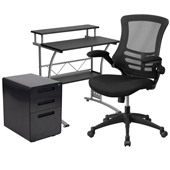 Black Desk, Chair, Cabinet Set