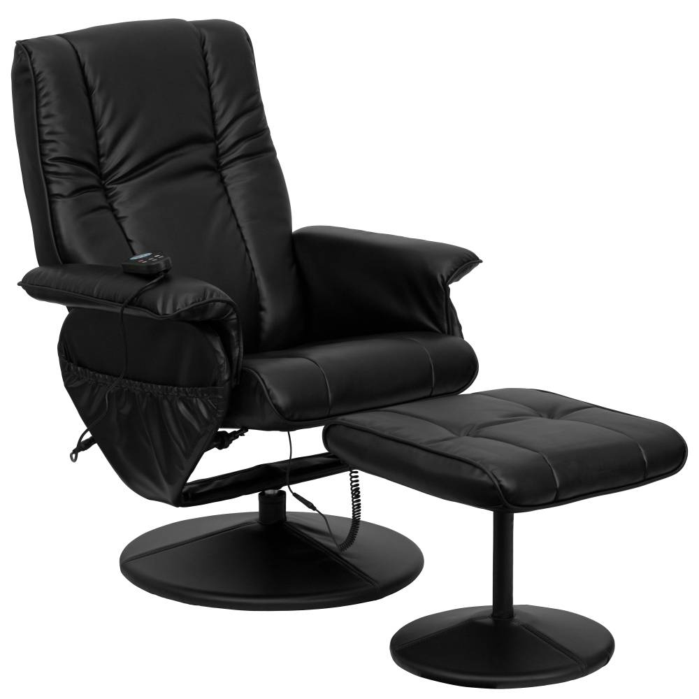 Massage Black Leather Recliner