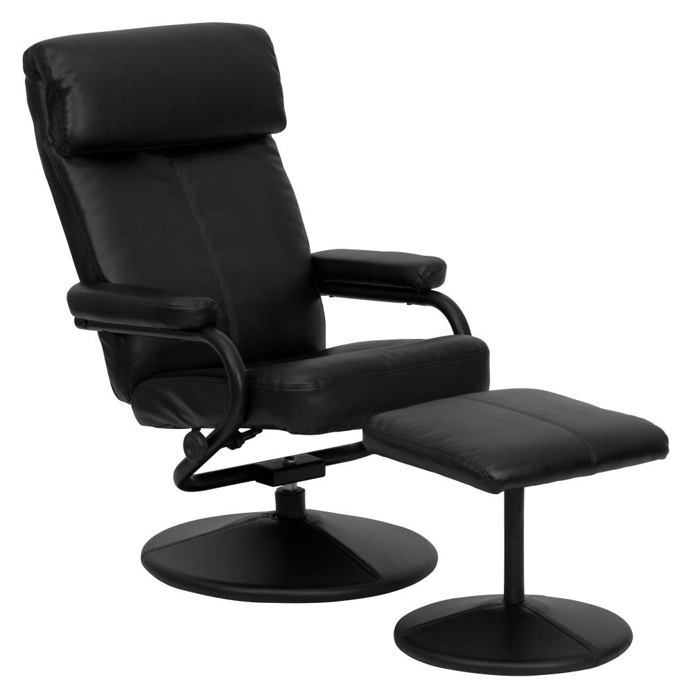 Black Leather Recliner&Ottoman