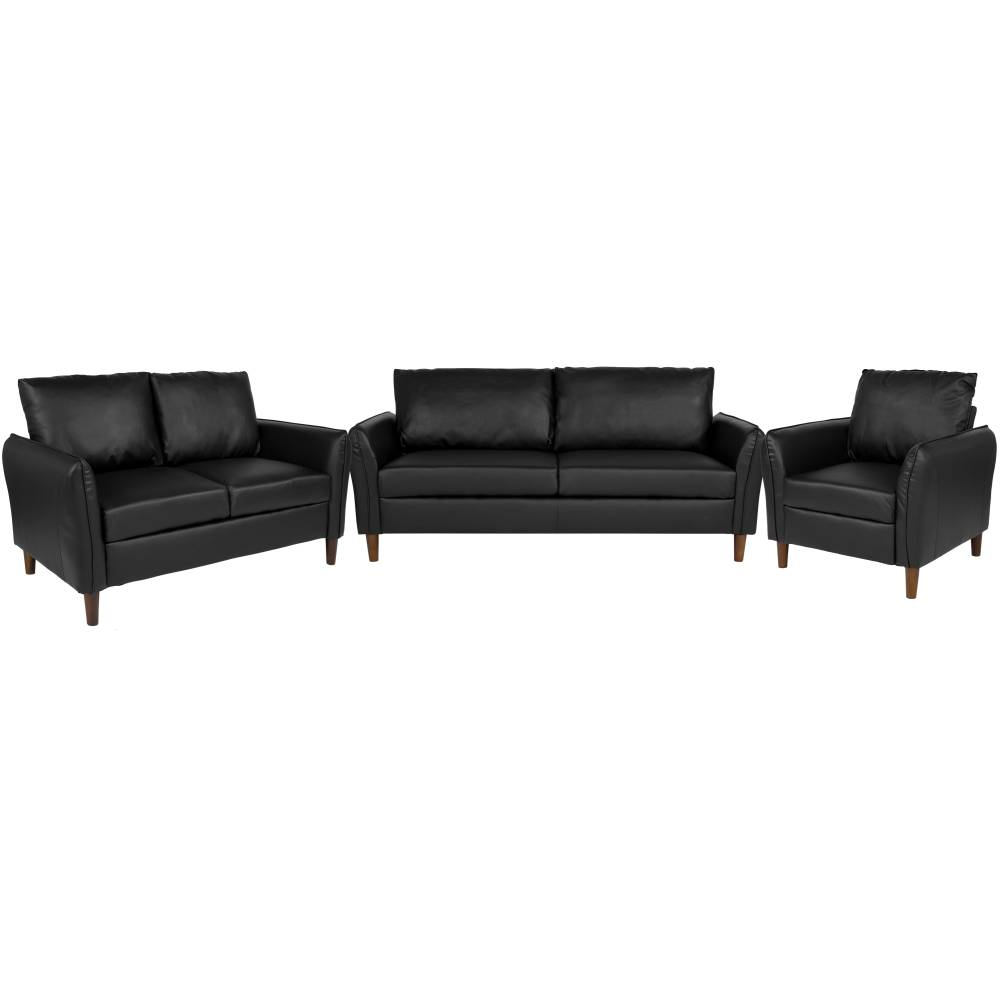Black 3 Piece Leather Sofa Set