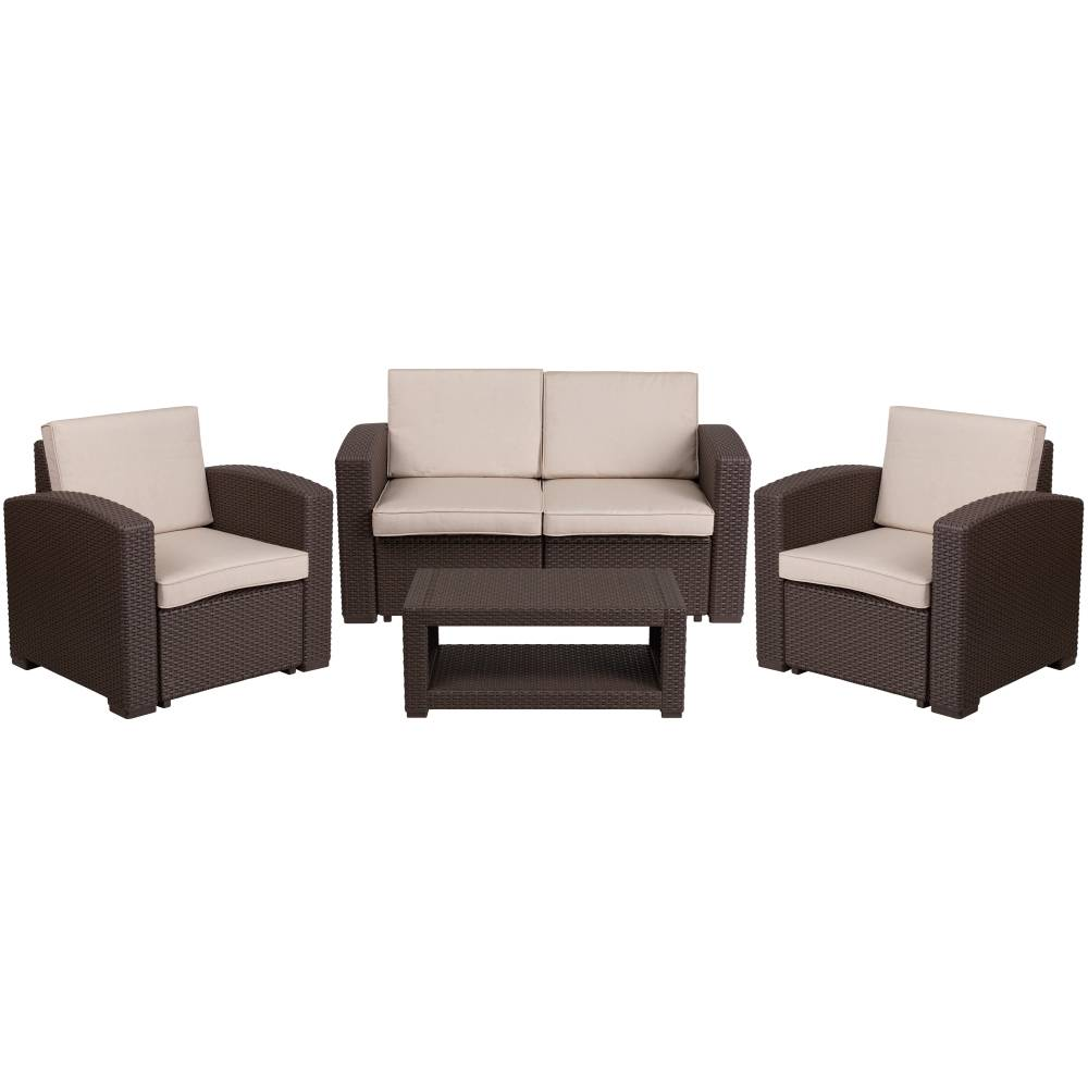 4 PC Brown Outdoor Rattan Set
