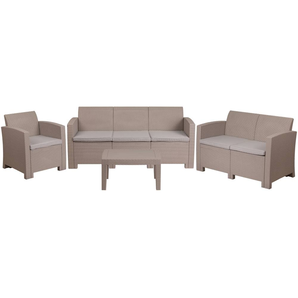 4 PC Gray Outdoor Rattan Set