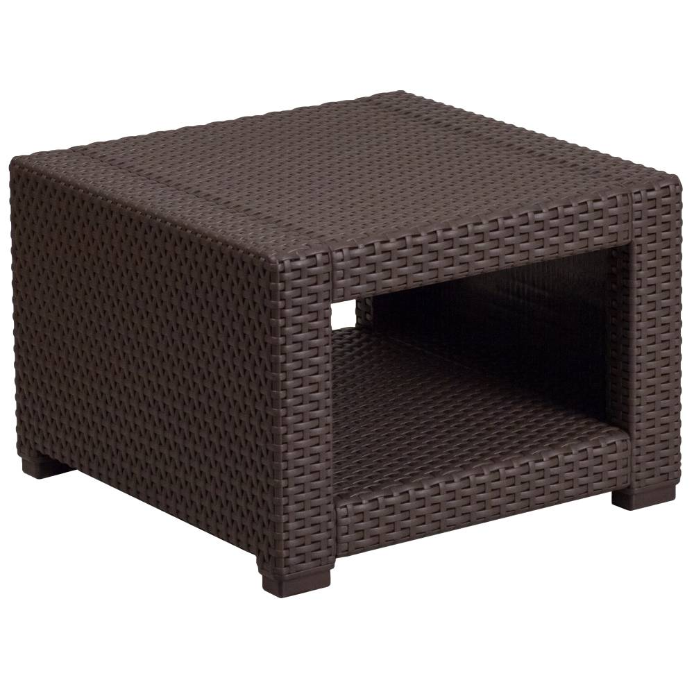 Chocolate Rattan End Table