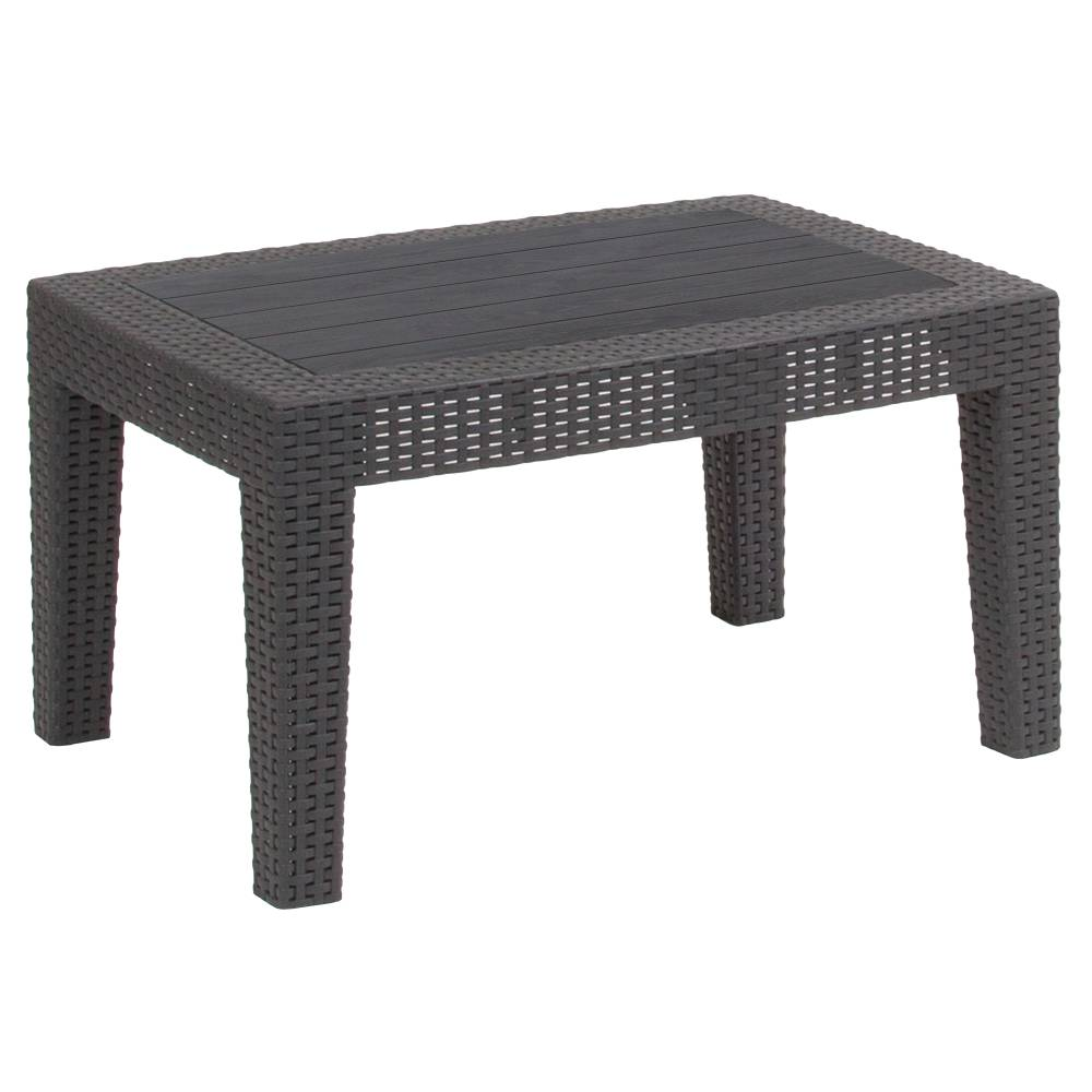 Dark Gray Rattan Coffee Table