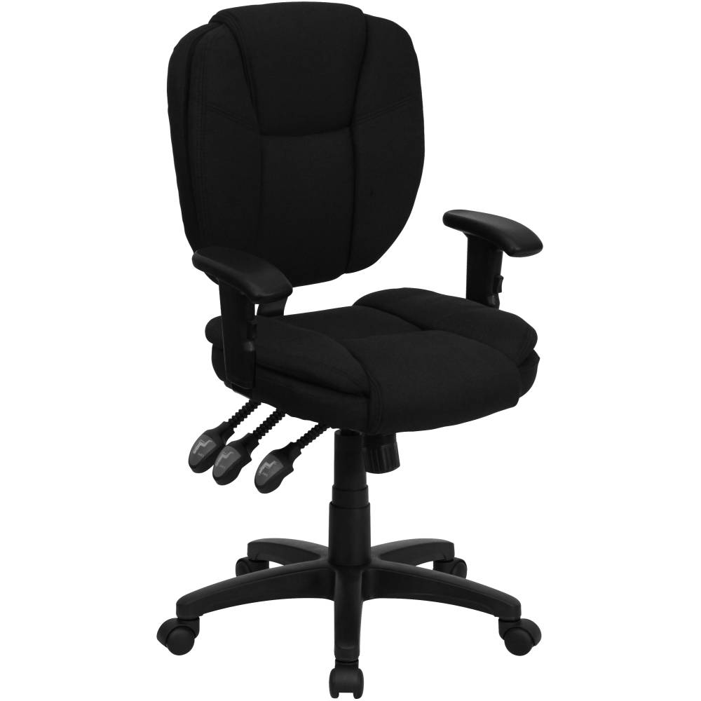 Black Mid-Back Fabric Chair
