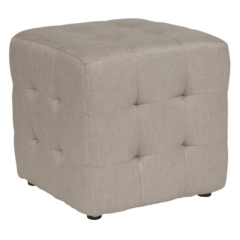 Beige Fabric Tufted Pouf