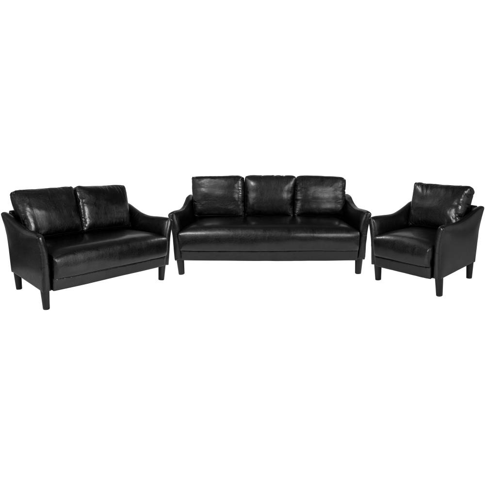 Black Leather Living Set