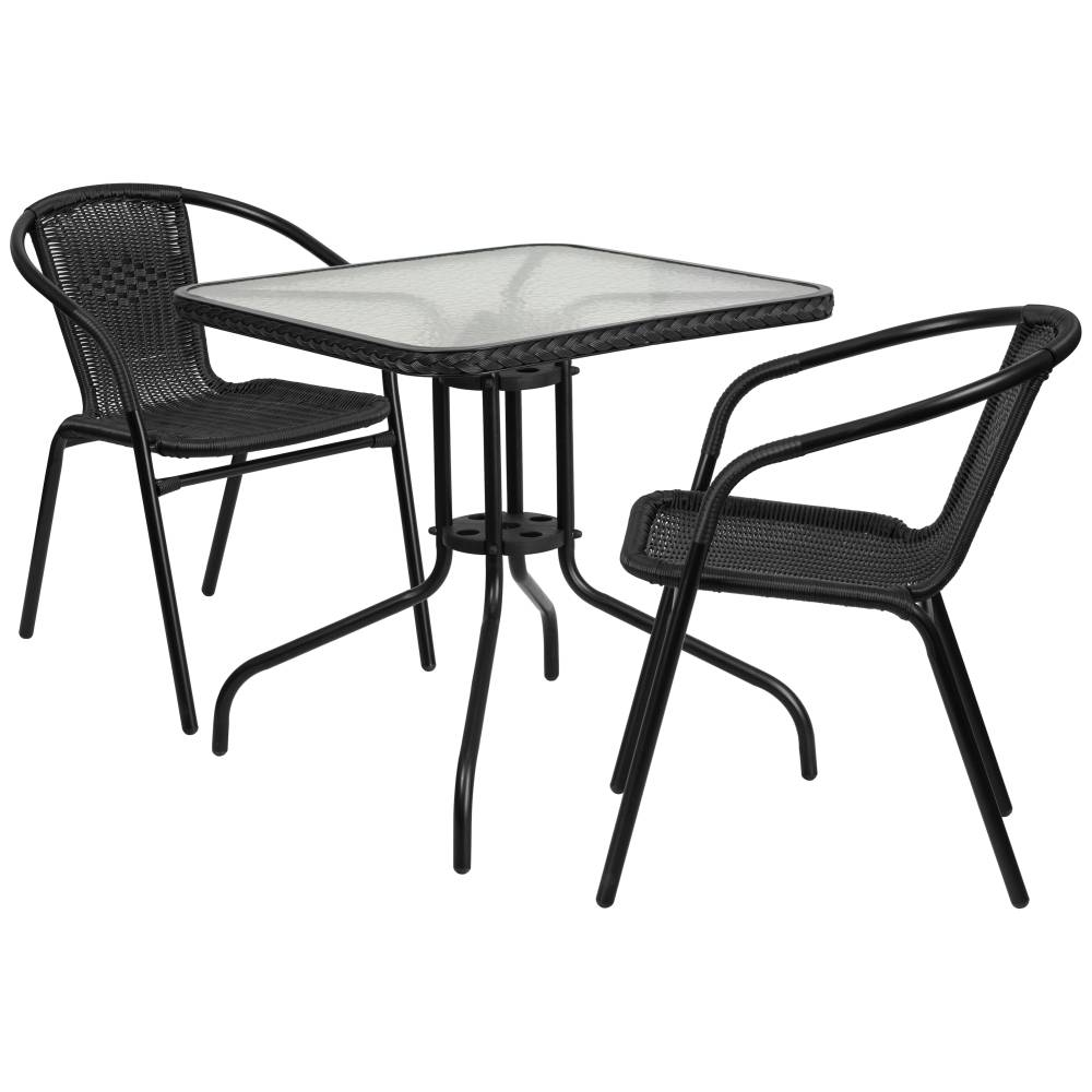 28SQ Black Table Set w/Rattan