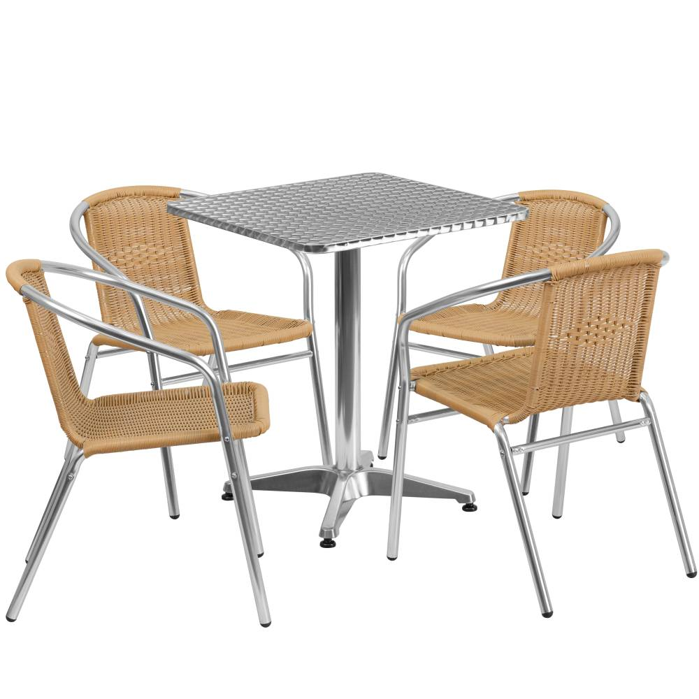 23.5SQ Aluminum Table/4 Chairs