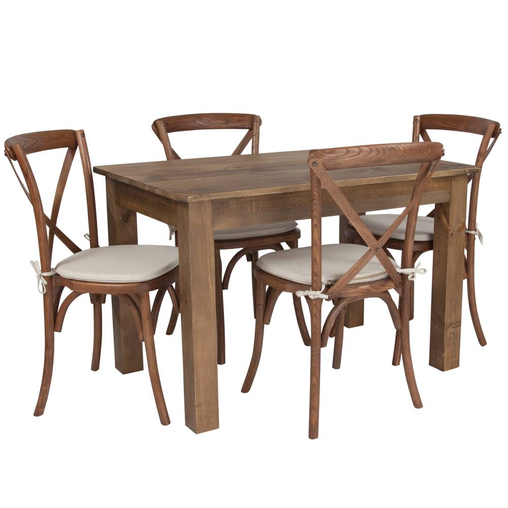 46x30 Farm Table/4 Chair Set