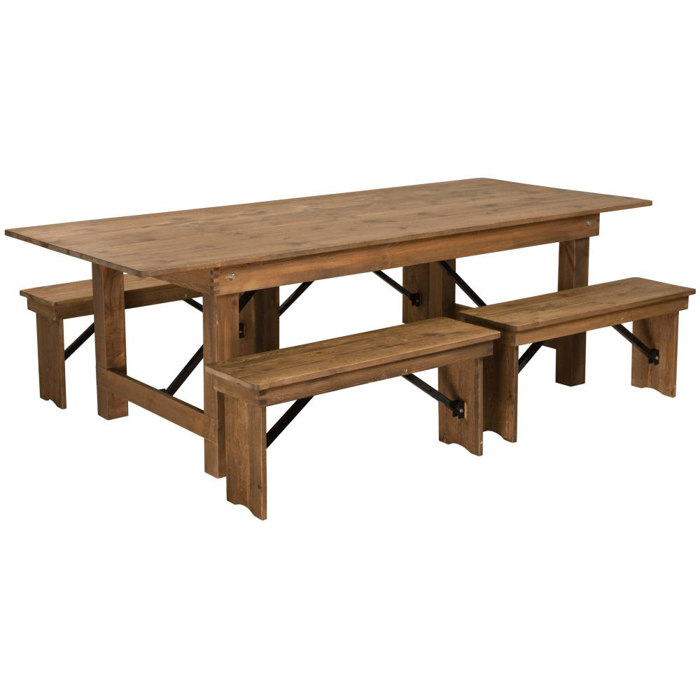 "8'x40"" Farm Table/4 Bench Set"
