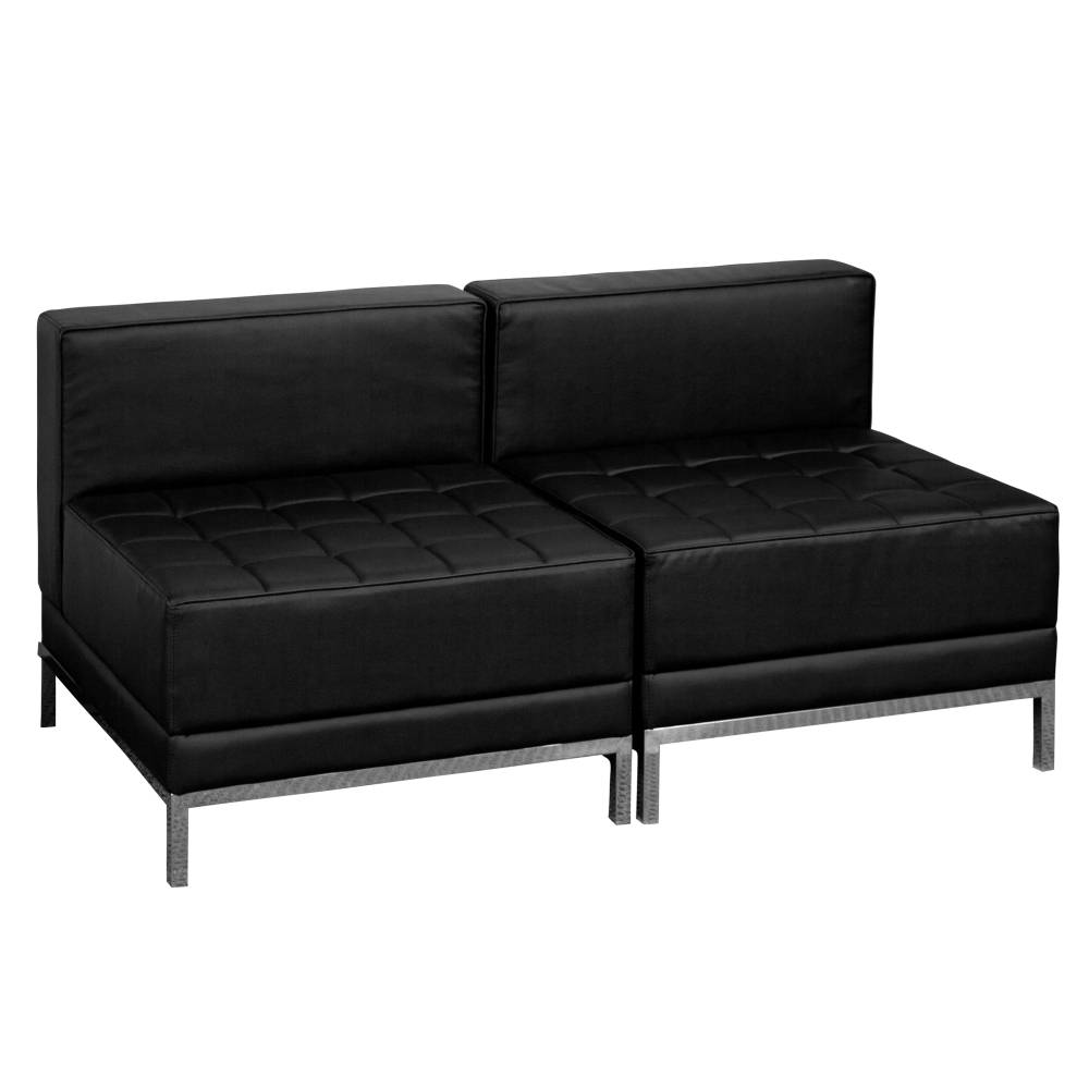 Black Leather Lounge Set, 2 PC