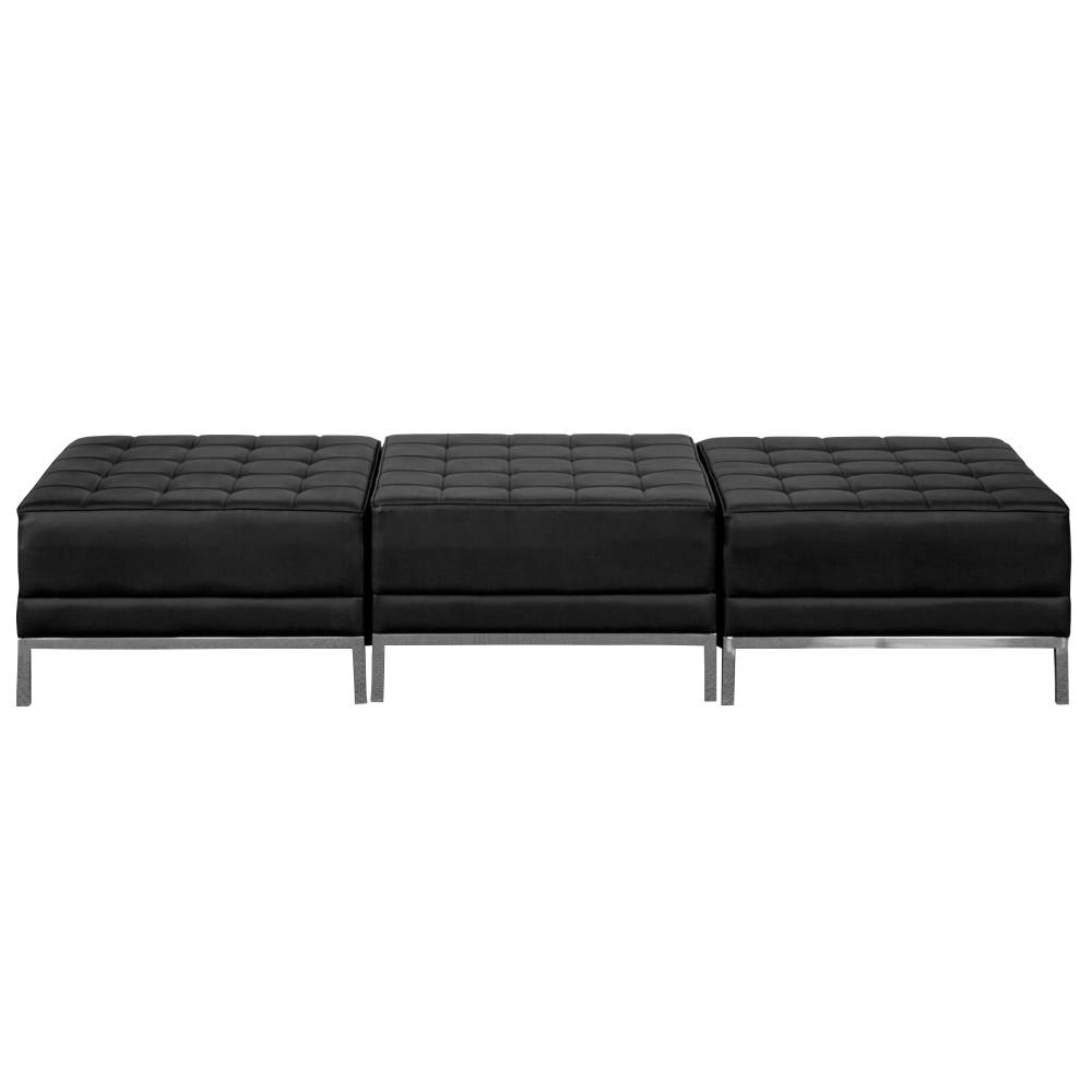 Black Leather 3-Seat Bench