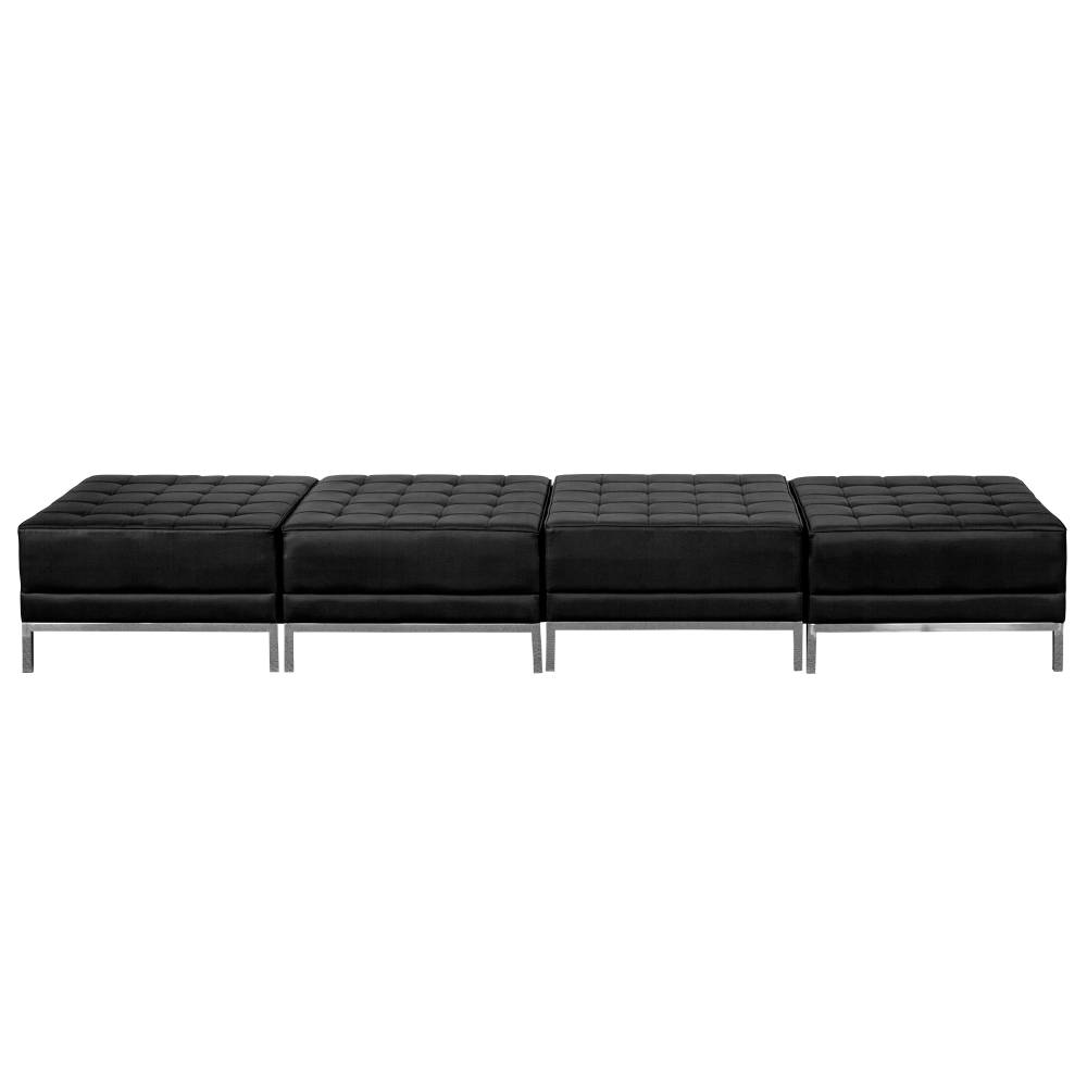 Black Leather 4-Seat Bench